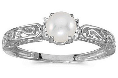 10k White Gold Pearl And Diamond Ring (CM-RM1689W-06)