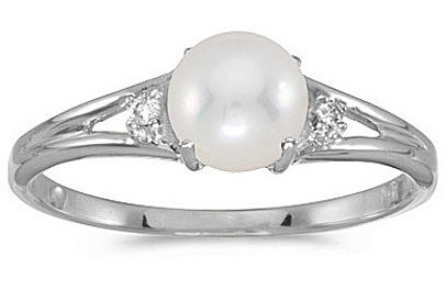 14k White Gold Pearl And Diamond Ring (CM-RM1789XW-06)