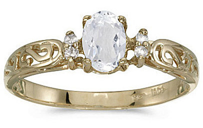14k Yellow Gold Oval White Topaz And Diamond Filigree Ring (CM-RM2209X-04)