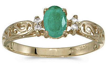 14k Yellow Gold Oval Emerald And Diamond Filigree Ring (CM-RM2209X-05)