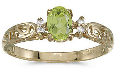14k Yellow Gold Oval Peridot And Diamond Filigree Ring (CM-RM2209X-08)
