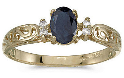 14k Yellow Gold Oval Sapphire And Diamond Filigree Ring (CM-RM2209X-09)