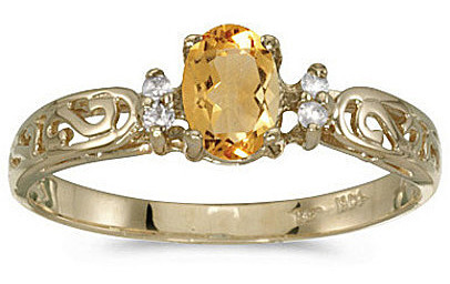 14k Yellow Gold Oval Citrine And Diamond Filigree Ring (CM-RM2209X-11)