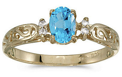14k Yellow Gold Oval Blue Topaz And Diamond Filigree Ring (CM-RM2209X-12)