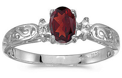 14k White Gold Oval Garnet And Diamond Filigree Ring (CM-RM2209XW-01)