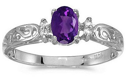 14k White Gold Oval Amethyst And Diamond Filigree Ring (CM-RM2209XW-02)