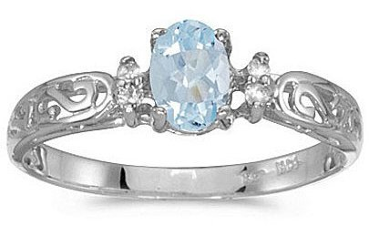 14k White Gold Oval Aquamarine And Diamond Filigree Ring (CM-RM2209XW-03)