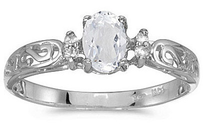 14k White Gold Oval White Topaz And Diamond Filigree Ring (CM-RM2209XW-04)