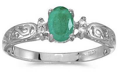14k White Gold Oval Emerald And Diamond Filigree Ring (CM-RM2209XW-05)
