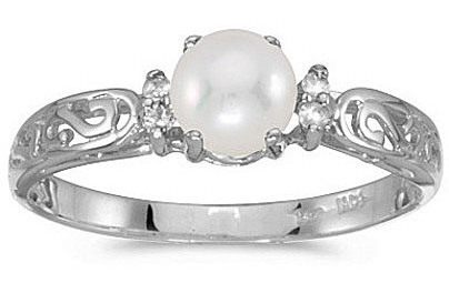 14k White Gold Pearl And Diamond Filigree Ring (CM-RM2209XW-06)