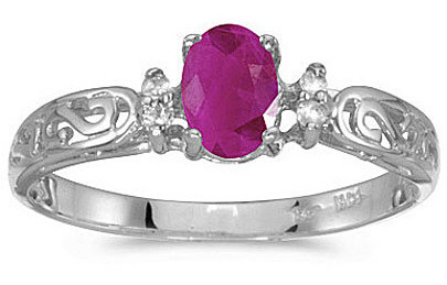 14k White Gold Oval Ruby And Diamond Filigree Ring (CM-RM2209XW-07)