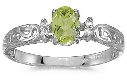14k White Gold Oval Peridot And Diamond Filigree Ring (CM-RM2209XW-08)