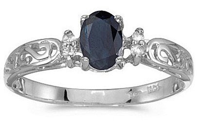 14k White Gold Oval Sapphire And Diamond Filigree Ring (CM-RM2209XW-09)