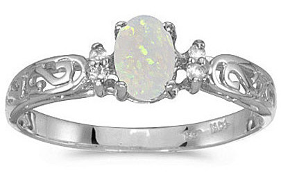 14k White Gold Oval Opal And Diamond Filigree Ring (CM-RM2209XW-10)