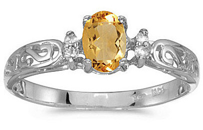 14k White Gold Oval Citrine And Diamond Filigree Ring (CM-RM2209XW-11)