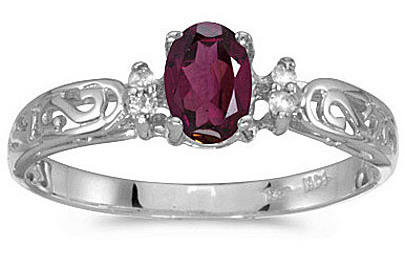 14k White Gold Oval Rhodolite Garnet And Diamond Filigree Ring (CM-RM2209XW-RG)