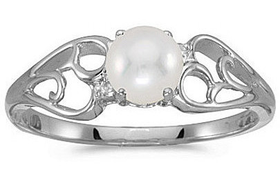 10k White Gold Pearl And Diamond Ring (CM-RM2582W-06)