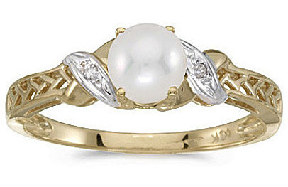 10k Yellow Gold Pearl And Diamond Ring (CM-RM2584-06)
