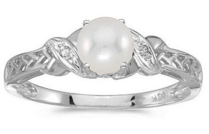 10k White Gold Pearl And Diamond Ring (CM-RM2584W-06)