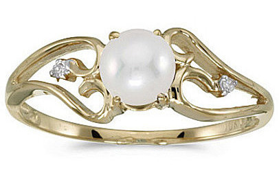10k Yellow Gold Pearl And Diamond Ring (CM-RM2585-06)