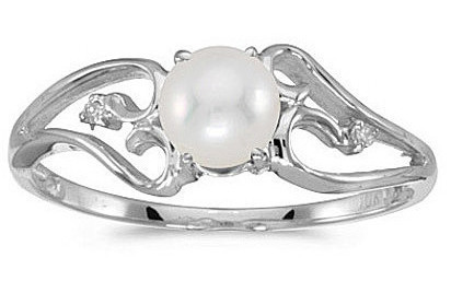 10k White Gold Pearl And Diamond Ring (CM-RM2585W-06)