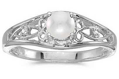 10k White Gold Pearl And Diamond Ring (CM-RM2587W-06)