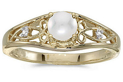 14k Yellow Gold Pearl And Diamond Ring (CM-RM2587X-06)