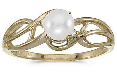 10k Yellow Gold Pearl And Diamond Curve Ring (CM-RM2588-06)