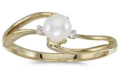 10k Yellow Gold Pearl And Diamond Wave Ring (CM-RM2589-06)