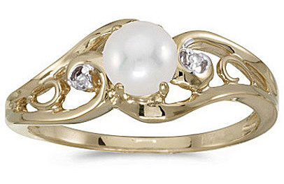 10k Yellow Gold Pearl And Diamond Ring (CM-RM2590-06)