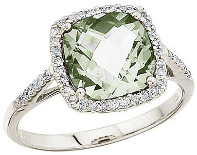 "14K White Gold 8 mm (1/3"") Cushion Green Amethyst and Diamond Ring (CM-RM2843W-GA)"