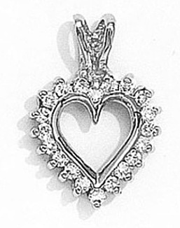 14K White Gold Diamond Heart Pendant (Chain NOT included) (CM-RM385FCW)