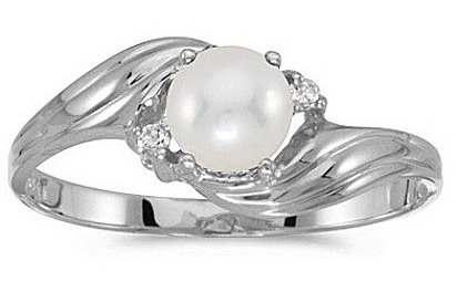 14k White Gold Pearl And Diamond Ring (CM-RM671XW-06)