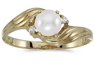 10k Yellow Gold Pearl And Diamond Ring (CM-RM885-06)