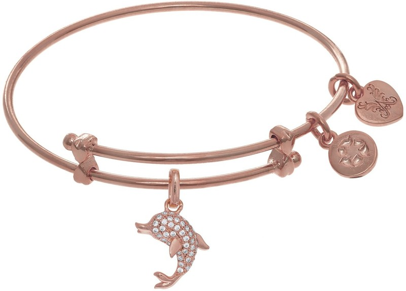 "6"" Adjustable Pink Brass CZ Dolphin Charm Angelica Bangle Bracelet (Tween)"