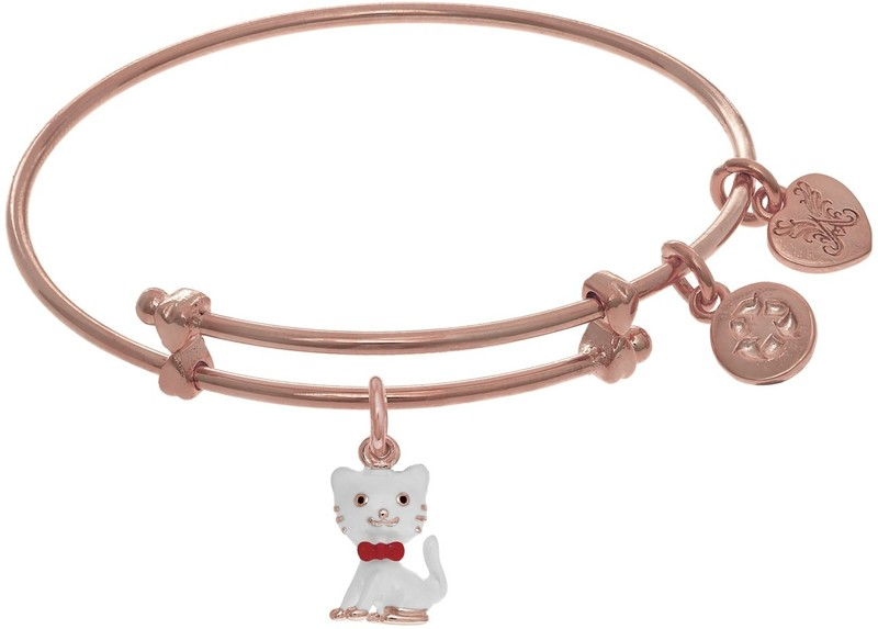 "6"" Adjustable Pink Finish Cat Charm Angelica Bangle Bracelet (Tween)"