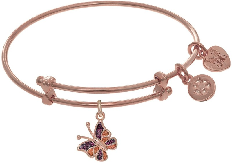 "6"" Adjustable Pink Brass Enamel Butterfly Charm Angelica Bangle Bracelet (Tween)"