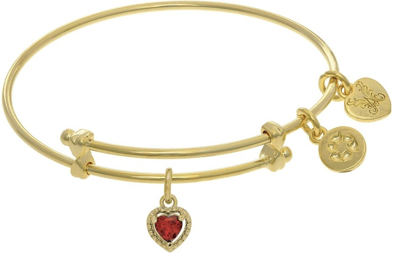 "6"" Adjustable Yellow Brass Charm January Heart CZ Birthstone Angelica Bangle Bracelet (Tween)"