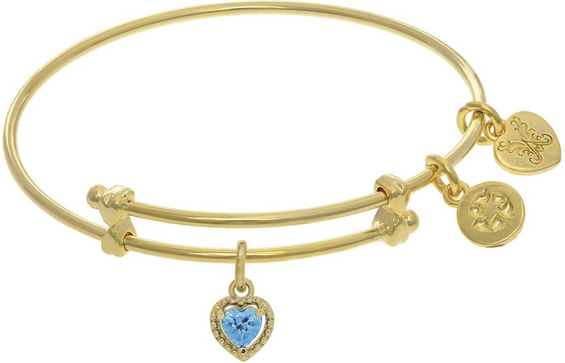 "6"" Adjustable Yellow March Heart CZ Birthstone Angelica Bangle Bracelet (Tween)"