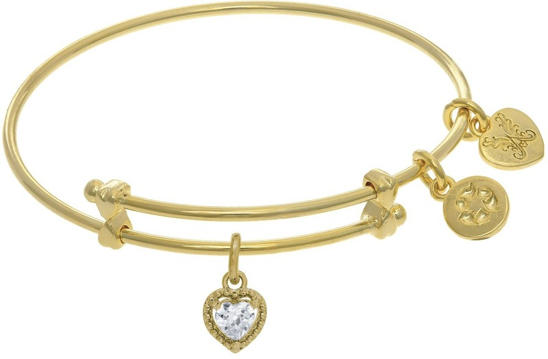 "6"" Adjustable Yellow April Heart CZ Birthstone Angelica Bangle Bracelet (Tween)"
