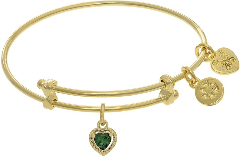 "6"" Adjustable Brass Heart CZ May Birthstone Angelica Bangle Bracelet (Tween)"