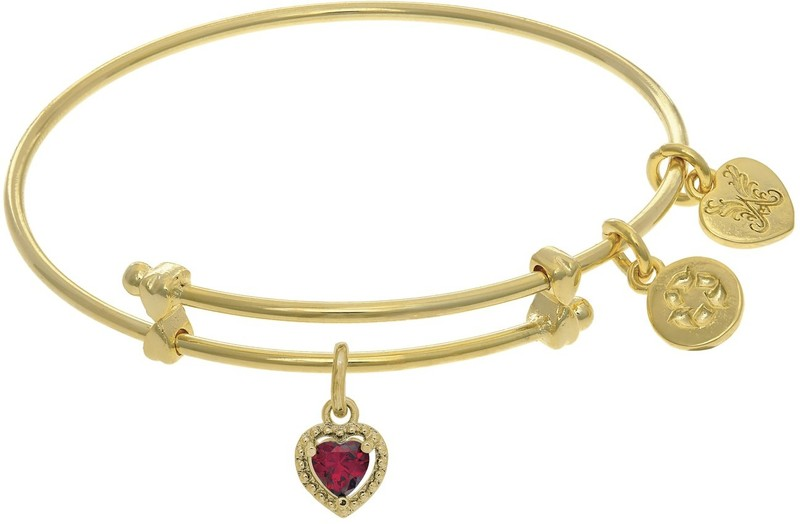 "6"" Adjustable Yellow July Heart CZ Birthstone Angelica Bangle Bracelet (Tween)"