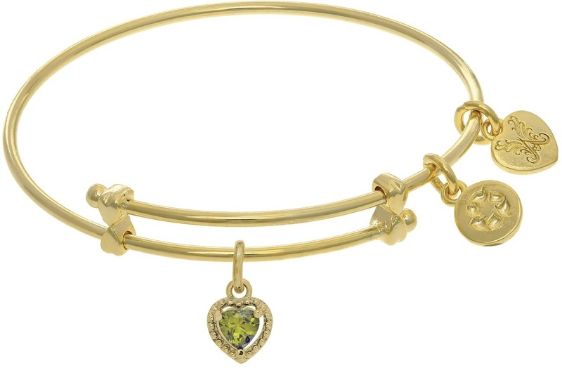 "6"" Adjustable Yellow August Heart CZ Birthstone Angelica Bangle Bracelet (Tween)"