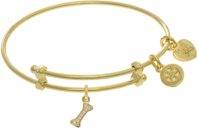 "6"" Adjustable Yellow Brass Dog Bone CZ Charm Angelica Bangle Bracelet (Tween)"