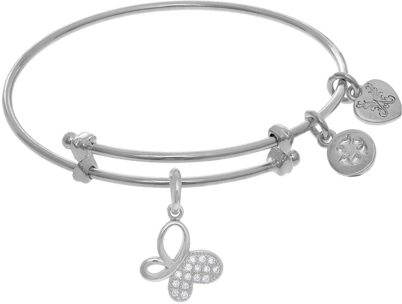 "6"" Adjustable White Brass Butterfly Charm CZ Angelica Bangle Bracelet (Tween)"
