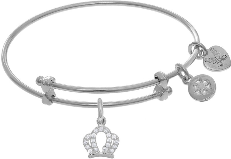 "6"" Adjustable White Brass Crown Small Charm Angelica Bangle Bracelet (Tween)"