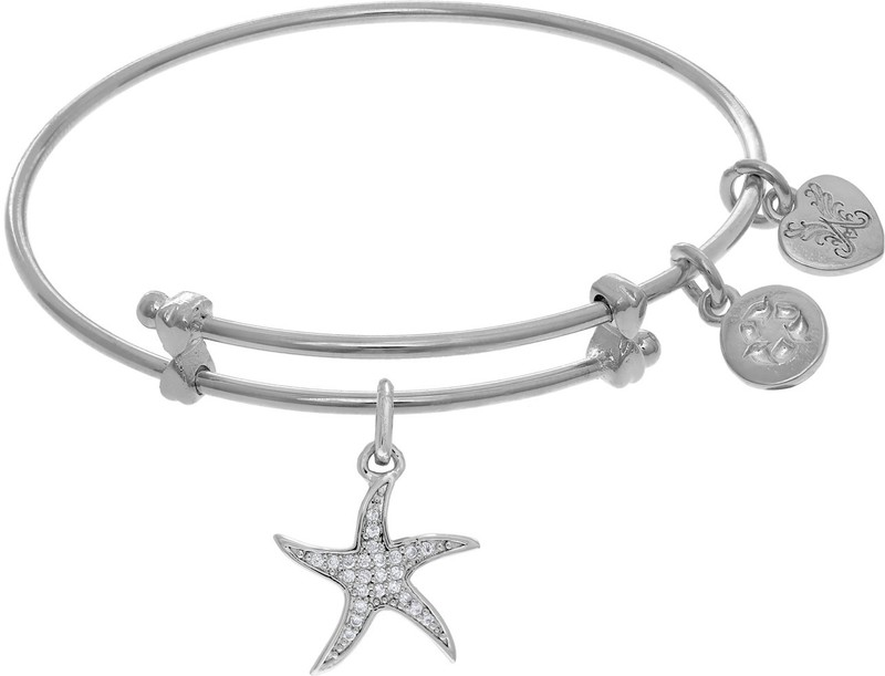 "6"" Adjustable White Brass Star Fish Charm Angelica Bangle Bracelet (Tween)"