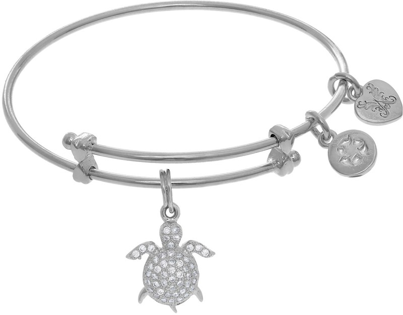 "6"" Adjustable White Brass Turtle Charm CZ Angelica Bangle Bracelet (Tween)"