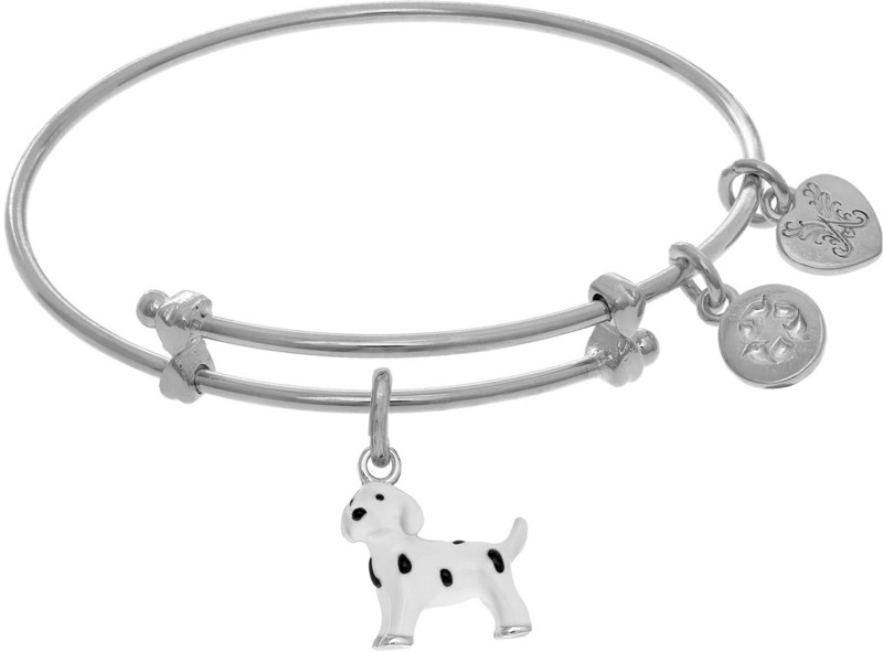 "6"" Adjustable White Brass Dalmatian Charm Angelica Bangle Bracelet (Tween)"