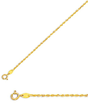 "20"" 10K Yellow Gold 1.25mm (0.05"") Polished Solid Diamond Cut Royal Rope Chain w/ Spring Ring Clasp"